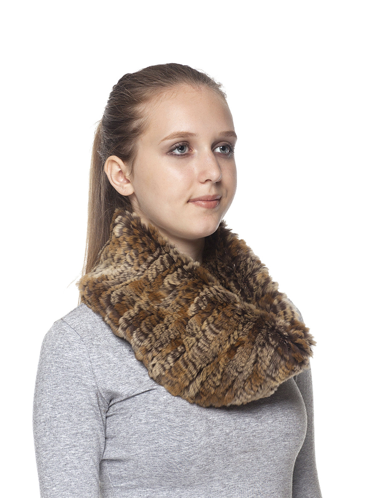 Golden Brown Rex Rabbit Scarf