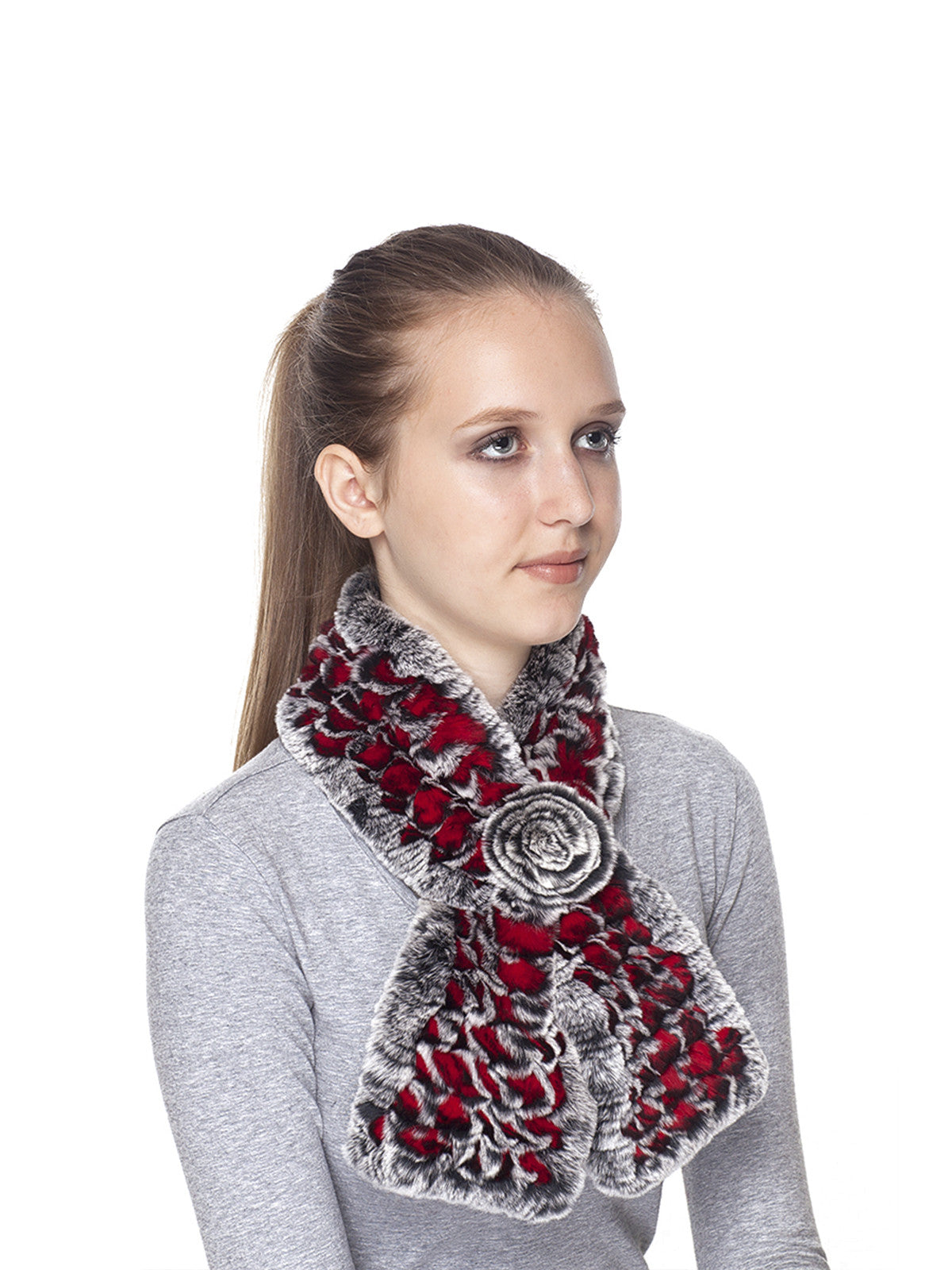 Red Black Frost Rex Rabbit Fur Scarf