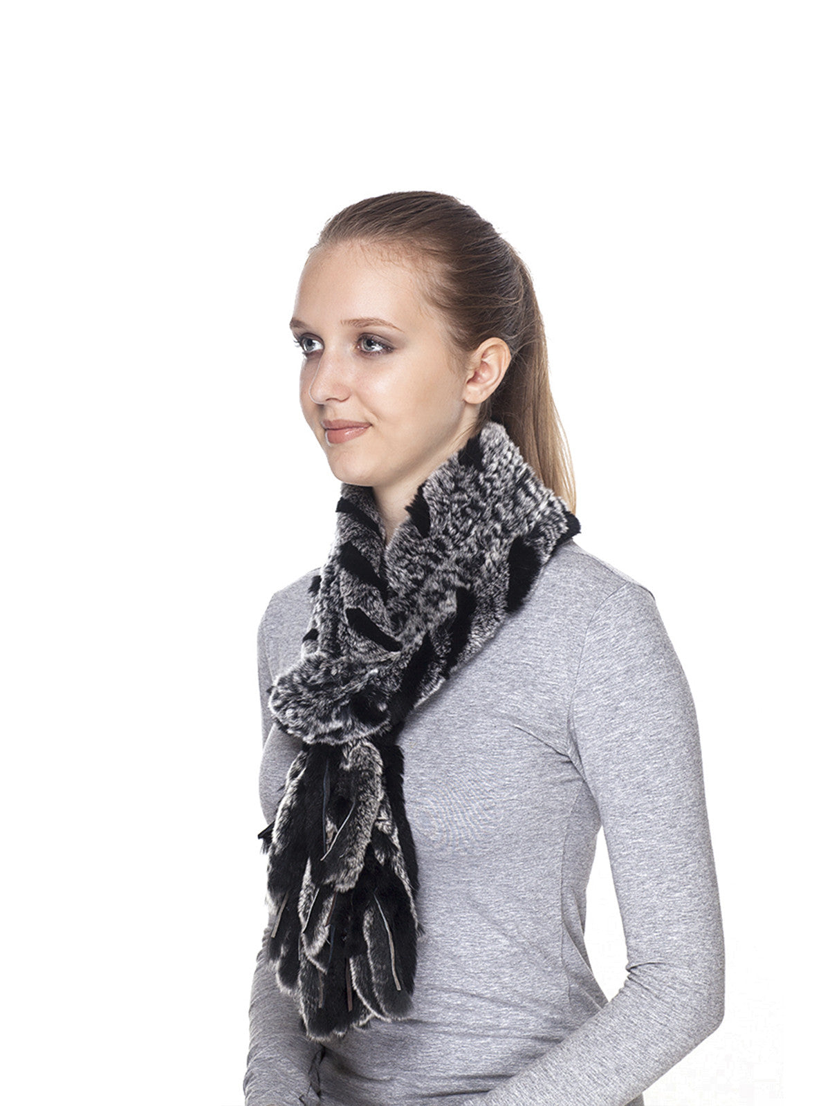 Grey-Black Rex Rabbit Scarf