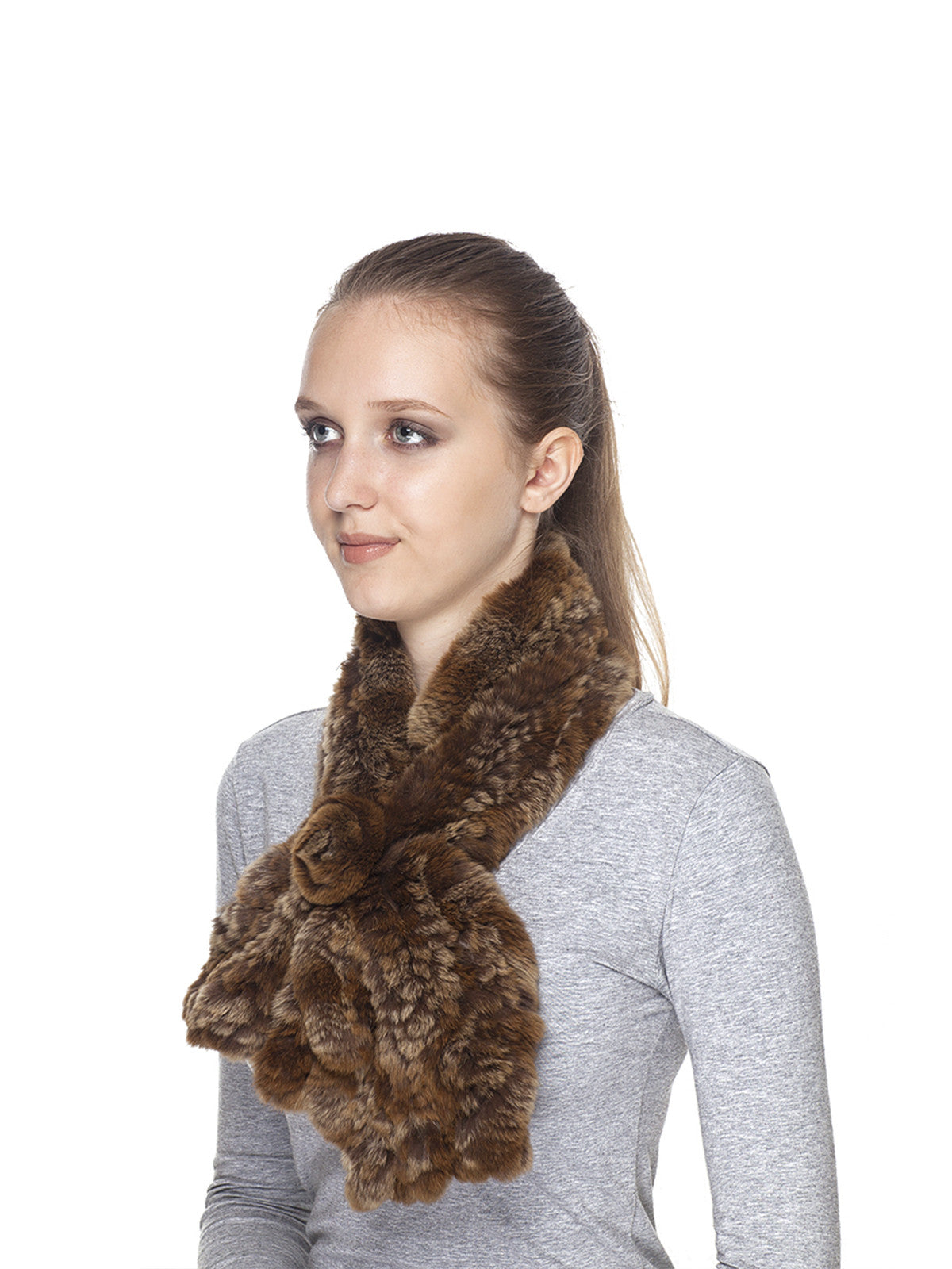 Golden-Brown Rex rabbit Scarf