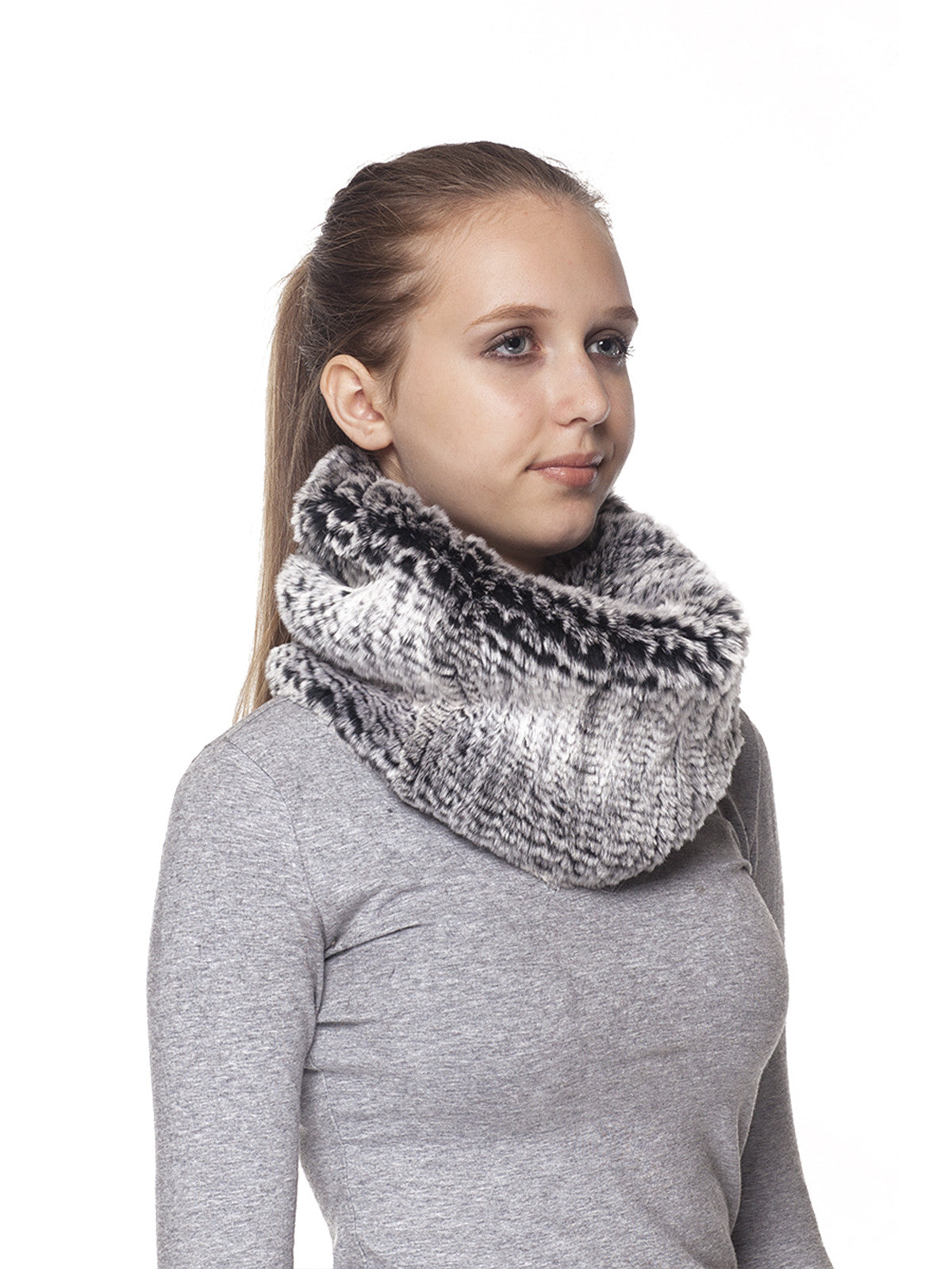 Black Frost Elastic Rex Rabbit Neck Warmer