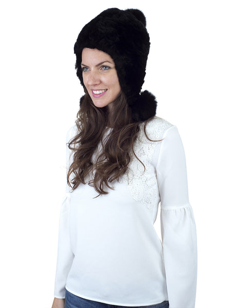 Black Rex Rabbit Hat with Ear Flaps