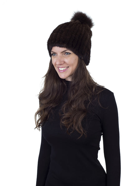 Brown Mink Fur Beanie with Fox Pom Pom