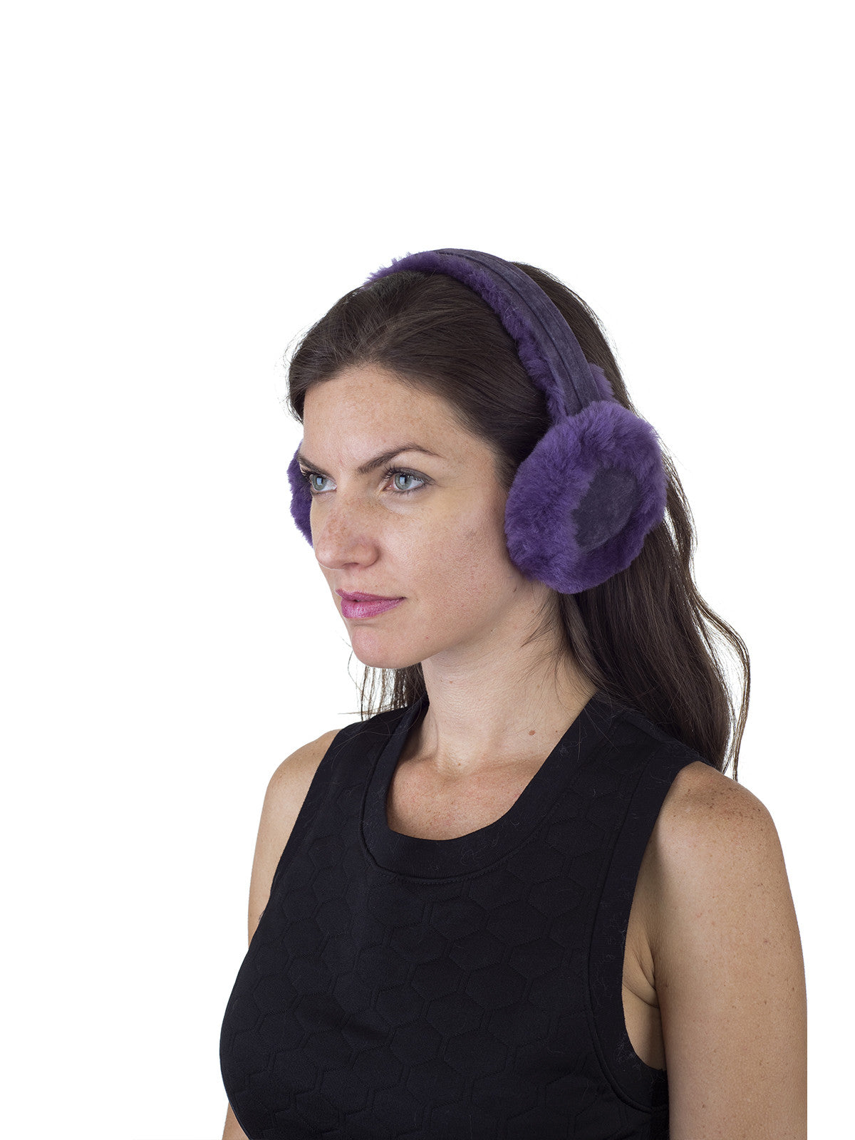 Merino Shearling Sheepskin Purple Earmuff