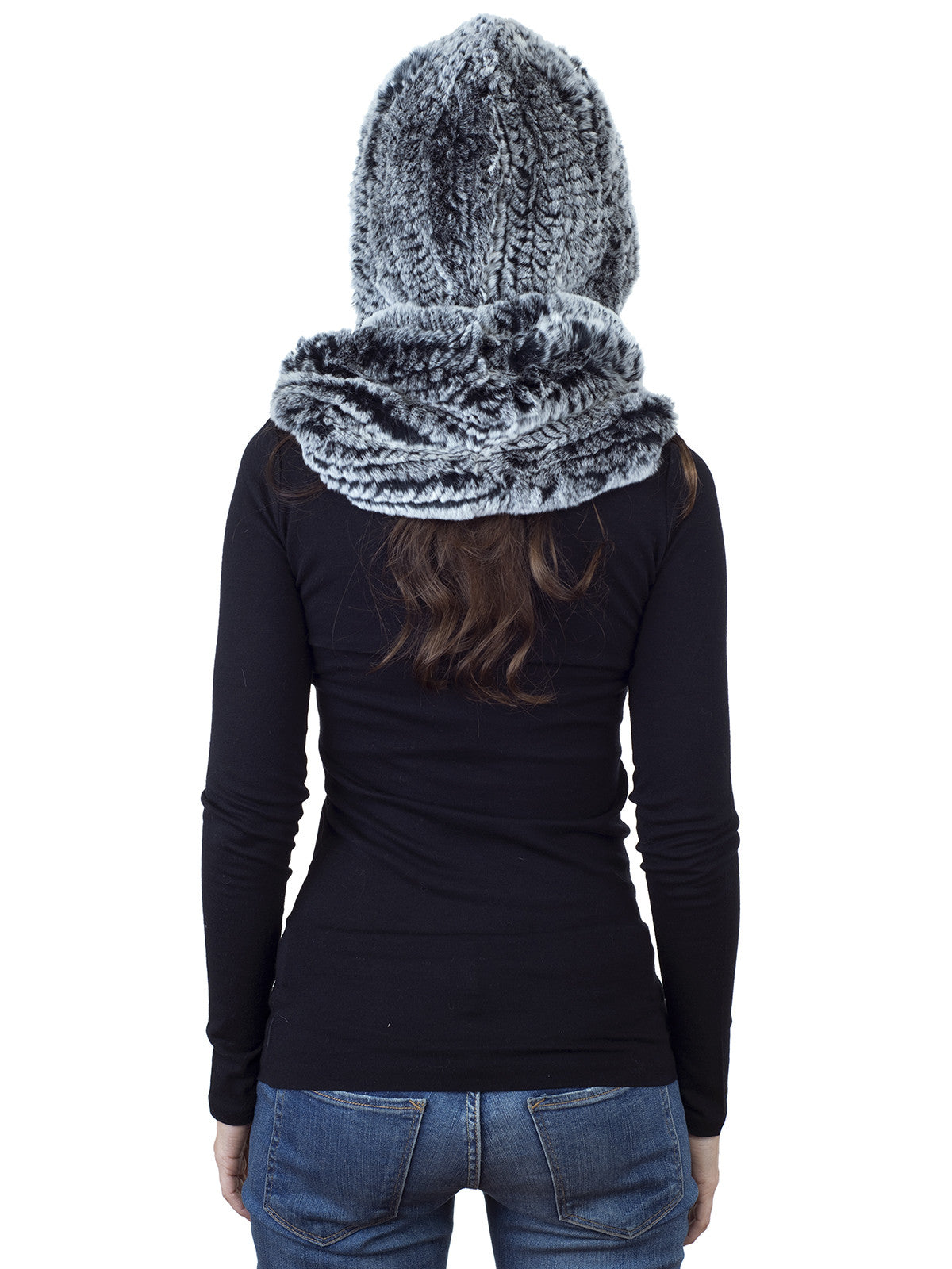 Black Frost Rex Rabbit Hood with Wide Infinity Scarf