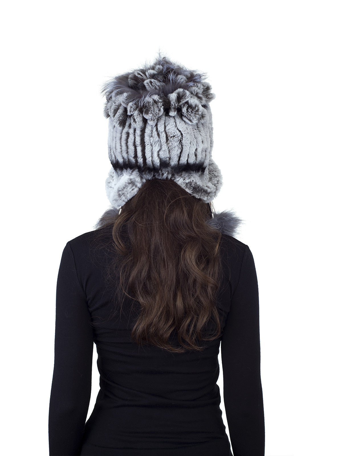 Chinchilla Color Rex Rabbit Fur Hat with Earflaps and Fox Pom Pom