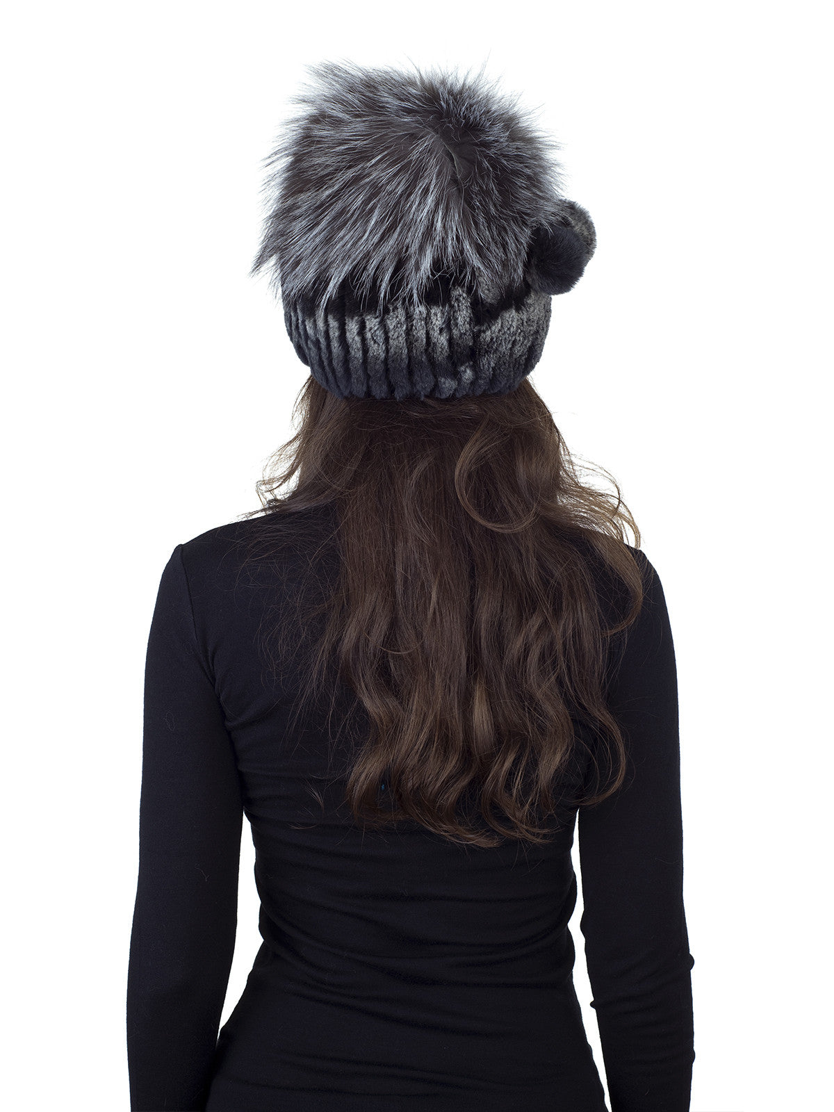 Dark Brown with White Rex Rabbit Fur Hat with Silver Fox Crown