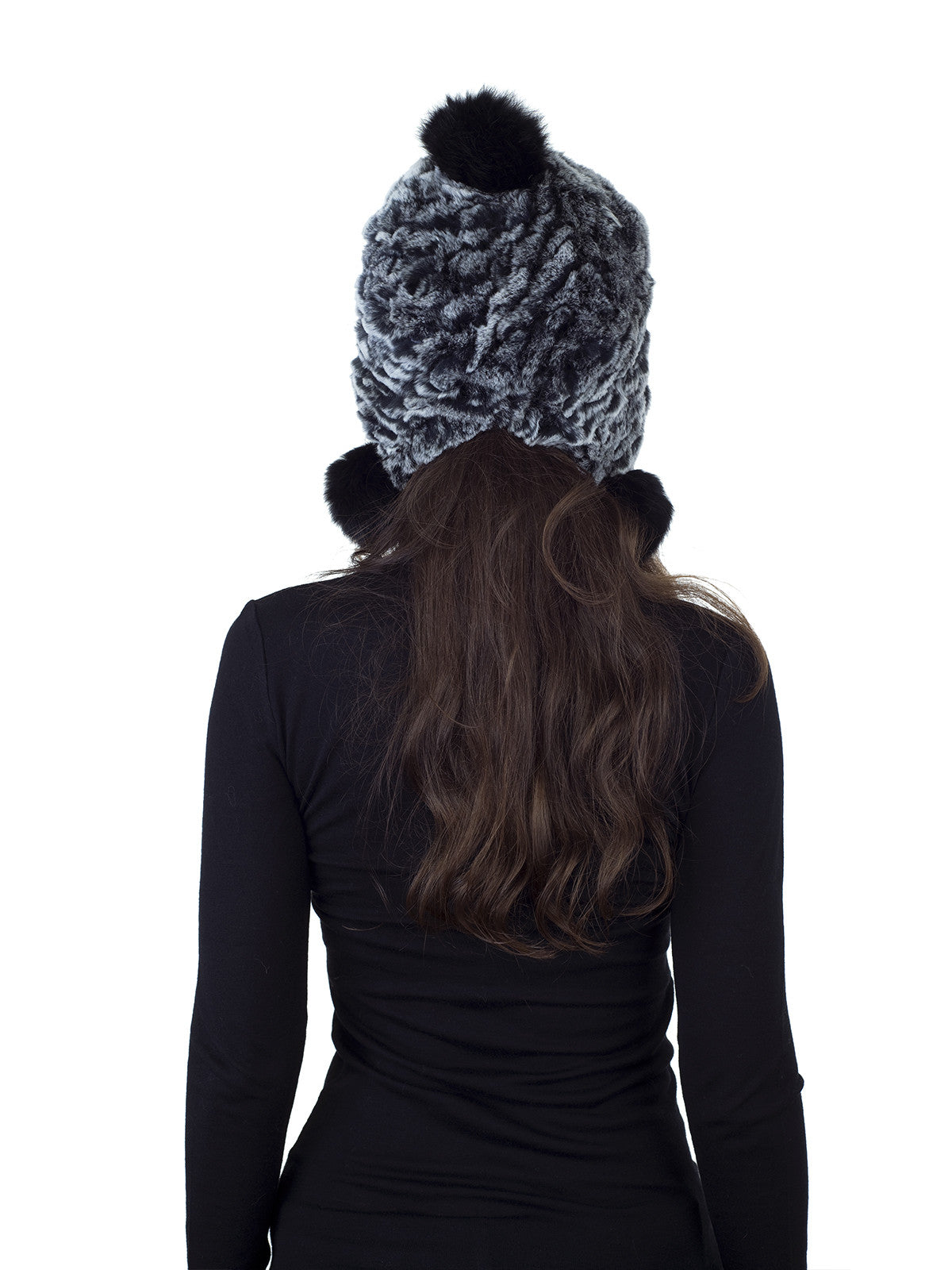 Black Frost Knitted Rex Rabbit Fur Hat with Earflaps