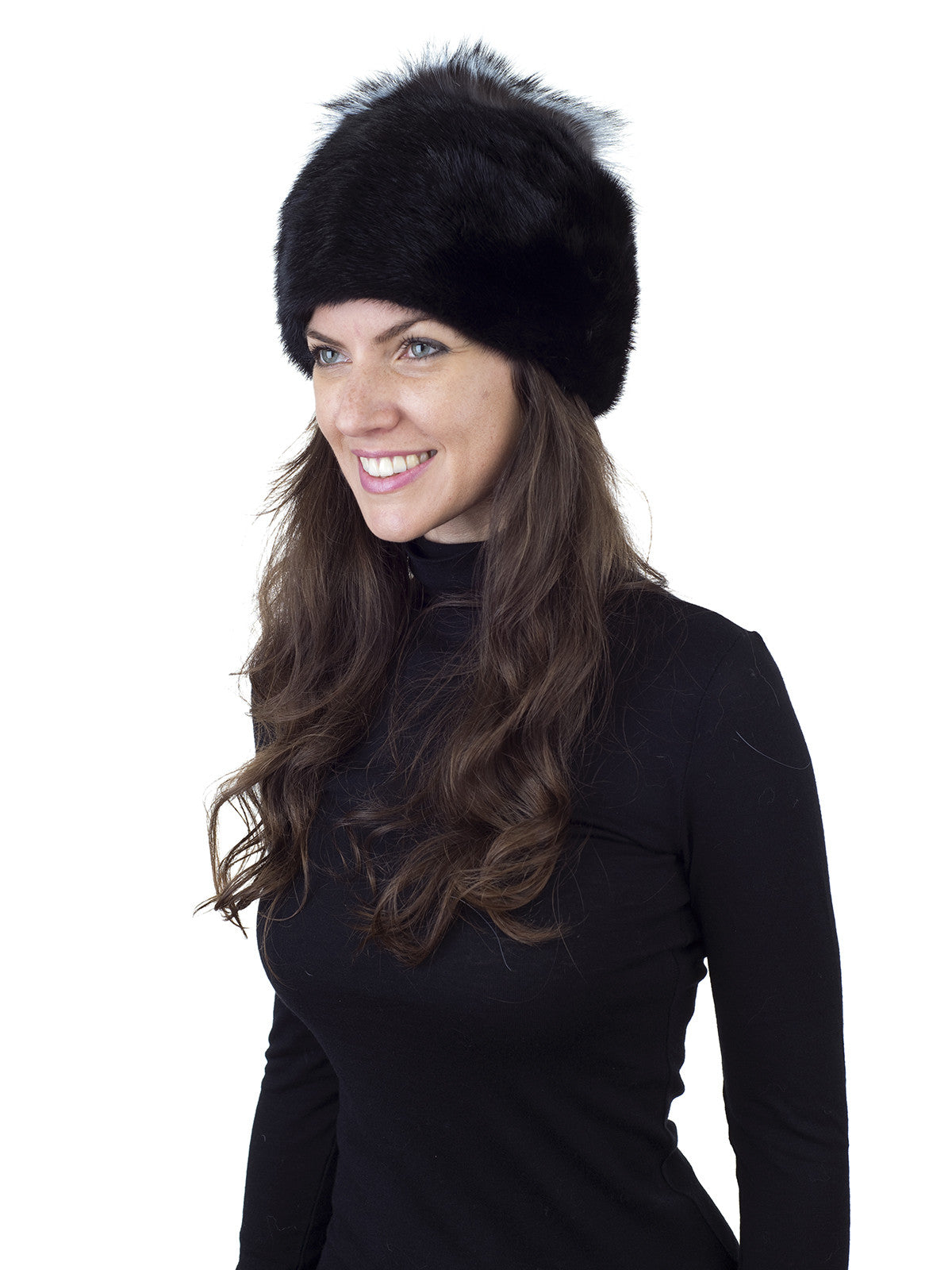 Black Mink Hat with Silver Fox Top
