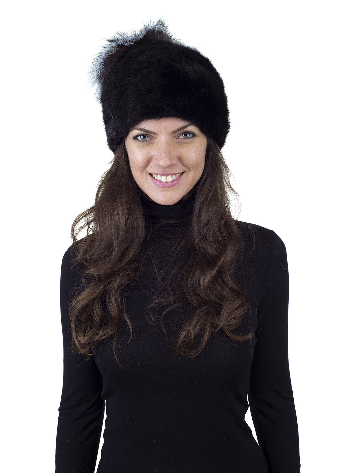 Black Mink Beanie with Fox Top