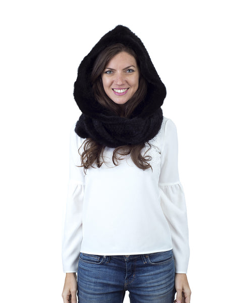 Black Mink Hood with Wide Infinity Scarf
