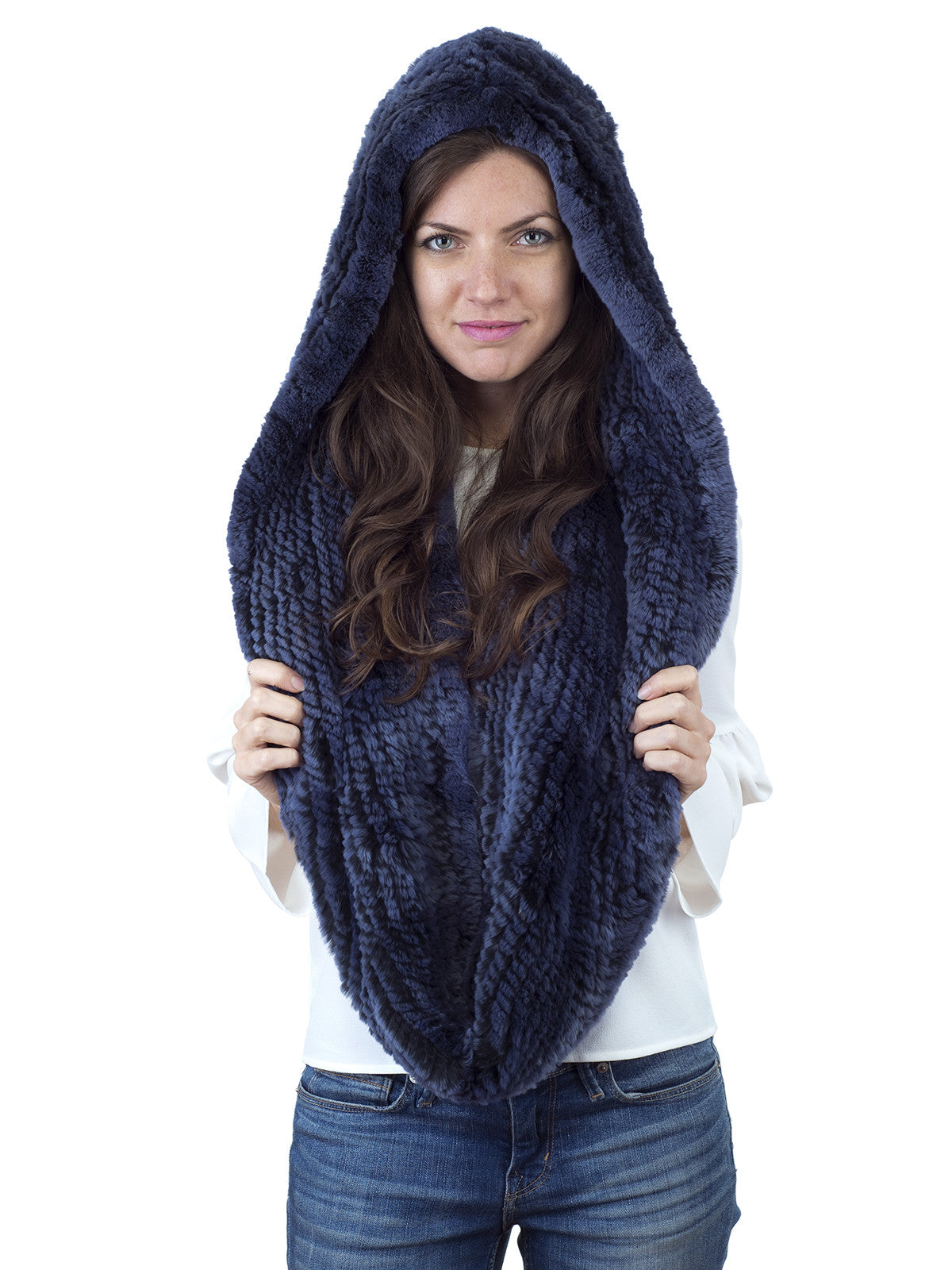 Blue Rex Rabbit Hood with Wide Infinity Scarf