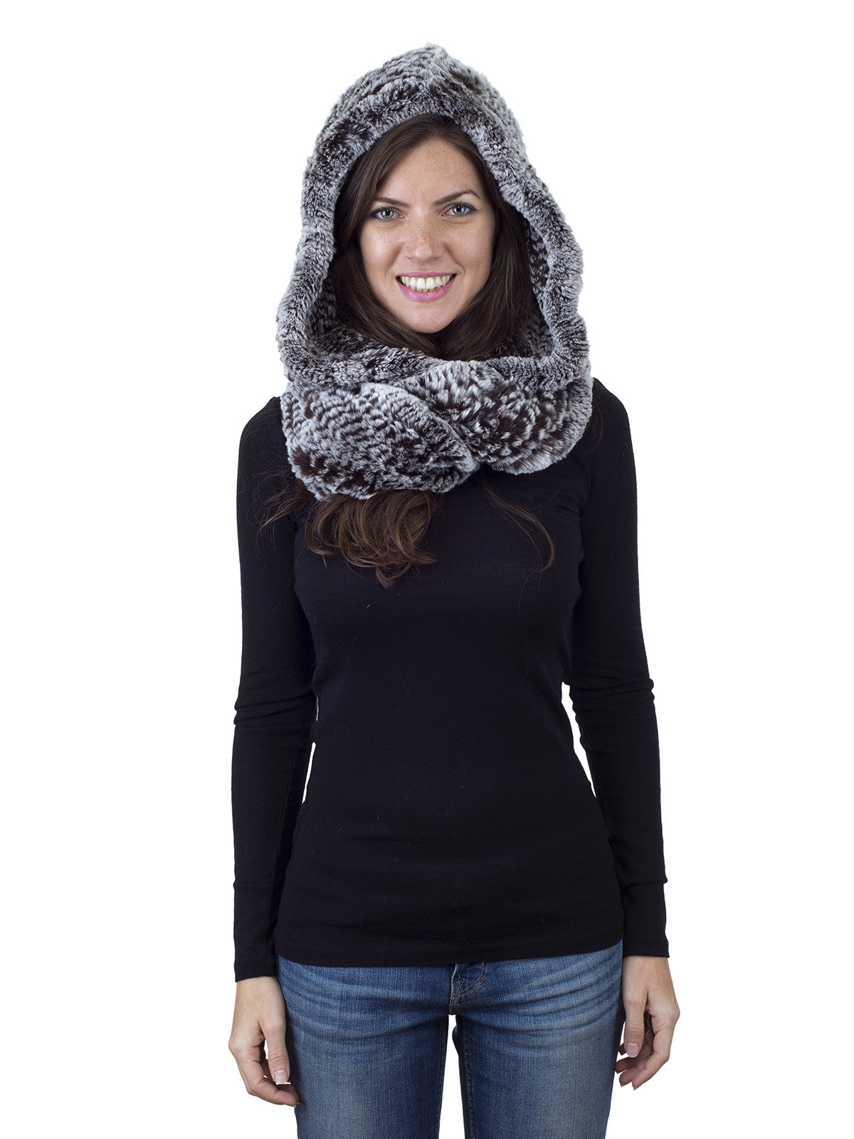 Brown Frost Rex Rabbit Hood with Wide Infinity Scarf