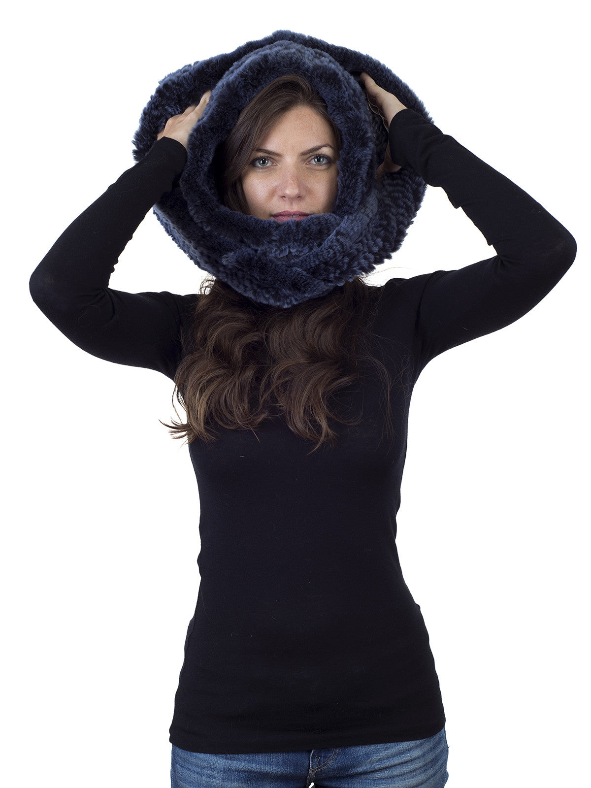 Blue Rex Rabbit Hood with Infitity Narrow Scarf