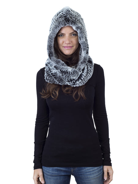 Black Frost Rex Rabbit Hood with Narrow Infinity Scarf