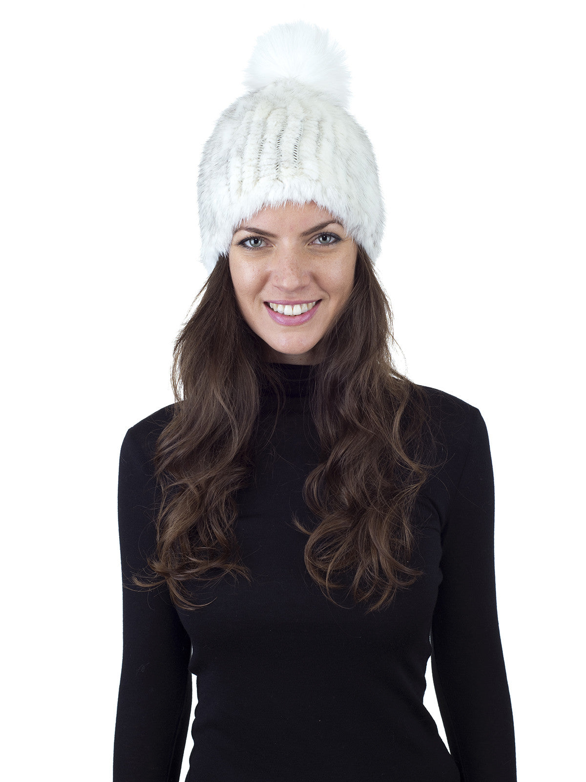 White Mink Fur Beanie with Fox Pom Pom