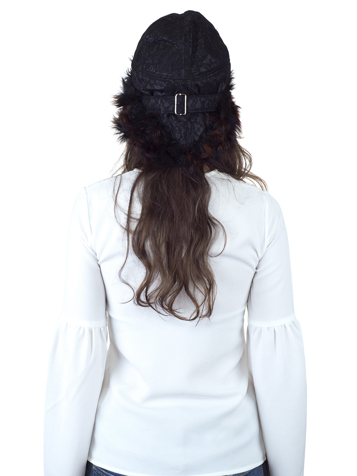 Black with Orange Tip Sheepskin Fur Hat with Black Lace Fabric