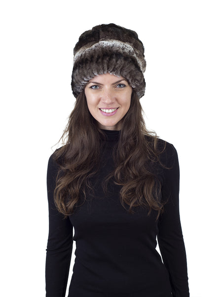 Brown/White Rex Rabbit Fur Hat with Pom Pom