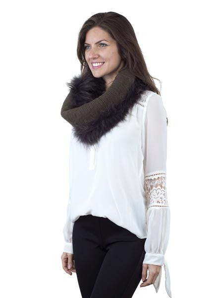 Brown Elastic Finn Raccoon Cowl