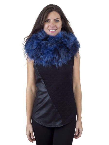 Blue Infinity Fox Scarf with Black Highlights