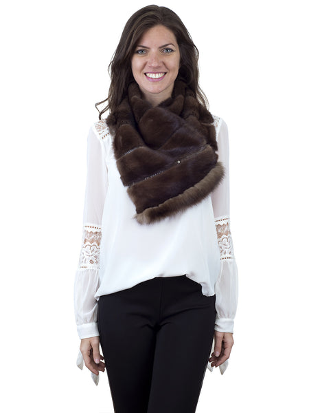 Demi Buff mink fur collar/scarf with Sable trim