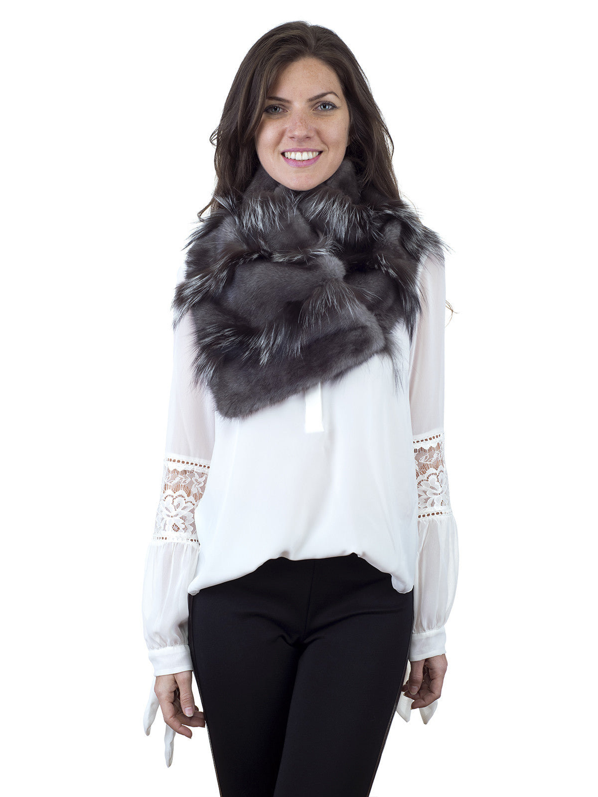 Grey Mink Scarf with Silver Fox