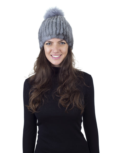 Grey Mink Fur Beanie with Fox Pom Pom