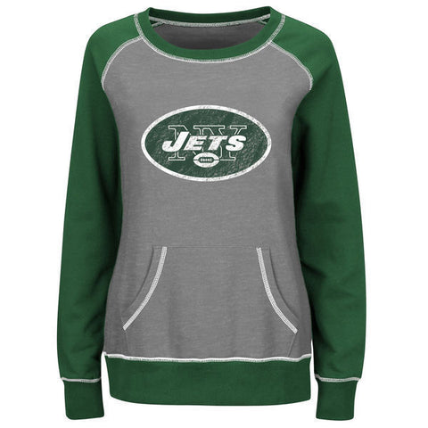Majestic NY Jets Women's Overtime Queen Crew Neck Sweatshirt - Girls Love Stuff