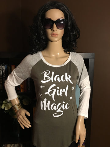 Glitter Black Girl Magic Juniors Olive Raglan 3/4 Sleeve Top - Girls Love Stuff
