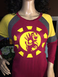 Marvel's Ironman Women's Graphic Raglan 3/4 Sleeve Top - Girls Love Stuff