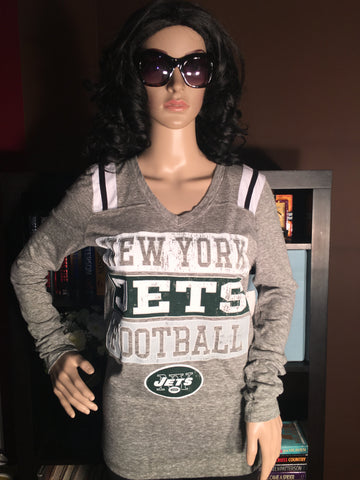NY Jets Block Letter Tri-Blend Long Sleeve - Girls Love Stuff