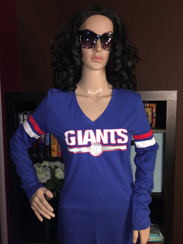 NY Giants Ladies Team Apparel V-Neck Long Sleeve - Girls Love Stuff