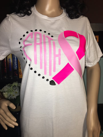 Faith Heart Breast Cancer Ribbon Women's Breast Cancer T-Shirt - Girls Love Stuff