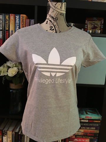 Privileged Lifestyle Graphic Women's adidas logo T-Shirt (Grey) - Girls Love Stuff