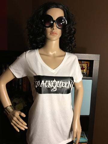 Black Queen Box Logo Women's Graphic V-Neck T-Shirt - Girls Love Stuff
