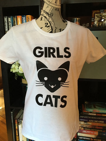Girls Love Cats Graphic T-Shirt (White) - Girls Love Stuff