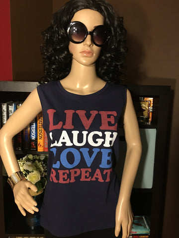 Live Laugh Love Repeat Women's Graphic Tank Top - Girls Love Stuff