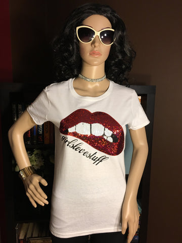 Sequin Bitten Lips Girls Love Stuff T-Shirt - Girls Love Stuff