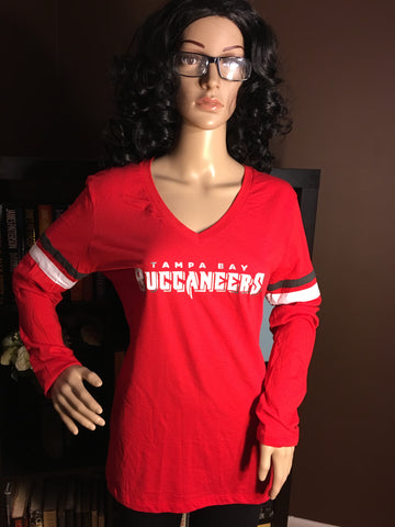 Tampa Bay Buccaneers Ladies Team Apparel V-Neck Long Sleeve - Girls Love Stuff