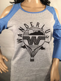 Wanderlust Juniors Cold Shoulder Raglan Graphic T-Shirt - girlslovestuff