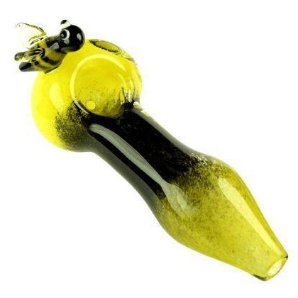 Inside Out Frit Glass Spoon Pipe Sculpted Bumble Bee