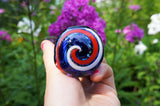 Swirling USA Cane Design Black Glass Pipe