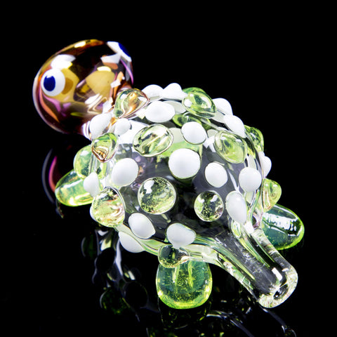 Turtle Themed Glass Chillum with Colored Marbles