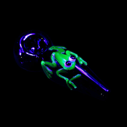 Illuminati Glow Critter Glass Spoon Pipe- Frog-Glass Handpipes-Stash Lab Technologies