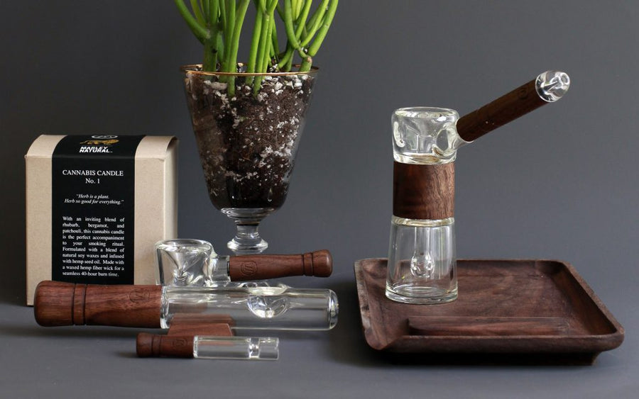 Wood Finish Glass Bubbler