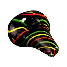 "3.5"" Teardrop Black Frit Body Glass Pipe- Rasta Cane-Glass Handpipes-Stash Lab Technologies"