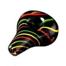 "3.5"" Teardrop Black Frit Body Rasta Cane Pipe"
