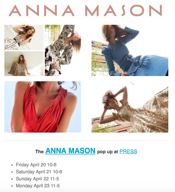 Anna Mason: the quietly chic fashion label made for real life pops up at Press April 20 - 23