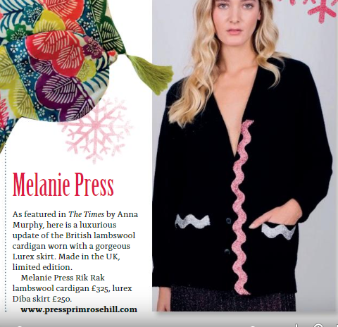 Melanie Press Collection Rik Rak Cardigan in On The Hill Magazine