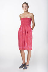 sara bandeau pink red melanie press dress